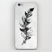 feather iPhone & iPod Skins featuring Feather by LouJah