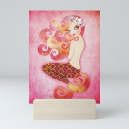 Coraleen, Mermaid in Pink Mini Art Print
