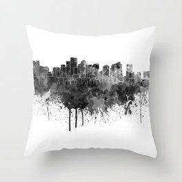 Boston skyline in black watercolor Throw Pillow
