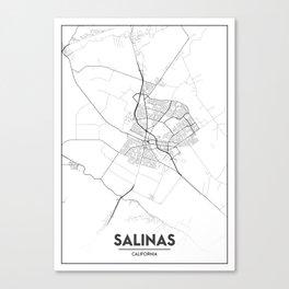 Minimal City Maps - Map Of Salinas, California, United States Canvas Print
