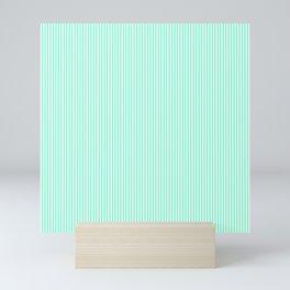 Pale Aquamarine and White Vertical Sailor Stripes Mini Art Print