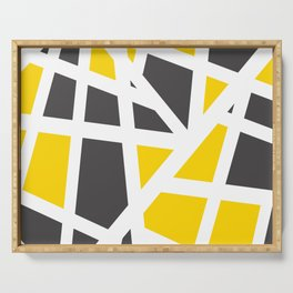Abstract Interstate  Roadways Gray & Yellow Color Serving Tray