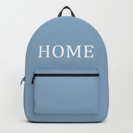 Home word on placid blue background Backpack