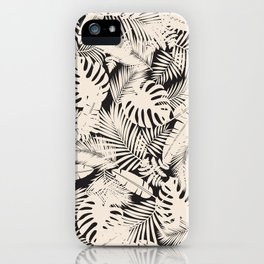 Black and Ivory Tropical Plants iPhone Case