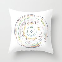record Throw Pillows featuring Rainbow Record by Project M