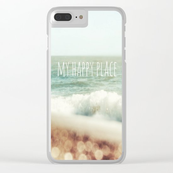 Beach - My Happy Place Clear iPhone Case