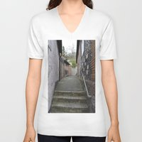 winchester V-neck T-shirts featuring Winchester Alley by Ashley Callan