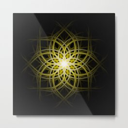 Mandala  -  Yellow Metal Print