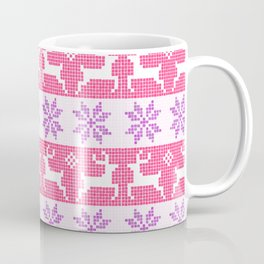 Watercolour Fair Isle in Pink & Purple Coffee Mug