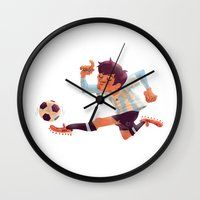 messi Wall Clocks featuring Lionel Messi, Argentina Jersey by Mike Laughead