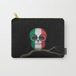 Baby Owl with Glasses and Italian Flag Carry-All Pouch
