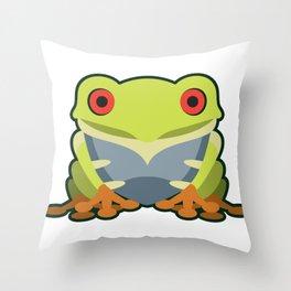 Cute Kawaii Green Tree Frog Throw Pillow