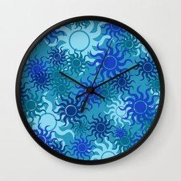 circle Sun Pattern blue turquoise II Wall Clock