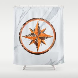 Wind rose ~ Inlaid marble Shower Curtain