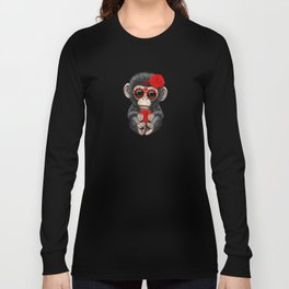 Red and Yellow Day of the Dead Sugar Skull Baby Chimp Long Sleeve T-shirt