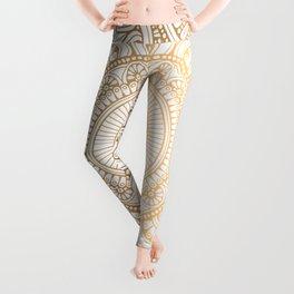 Gold Mandala Pattern Illustration With White Shimmer Leggings
