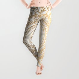 Gold Mandala Pattern Illustration With White Shimmer Leggings
