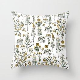 yellow garden Throw Pillow