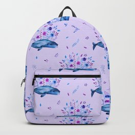 Floral Whales pattern 4 Backpack