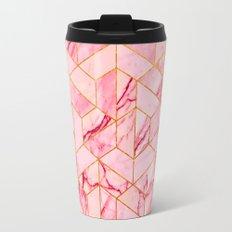 Pink Marble Hexagonal Pattern Travel Mug