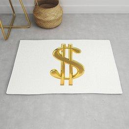 Gold Dollar Sign on White Rug