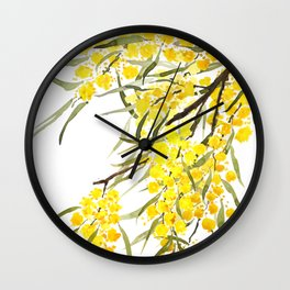 Godlen wattle flower watercolor Wall Clock