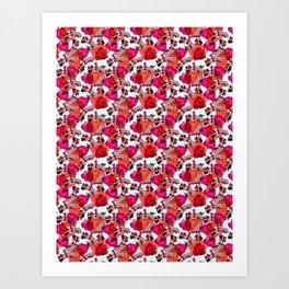 Rosy Retro Miami Pattern Art Print