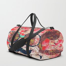 vintage old skull portrait with red poppy flower field abstract background Duffle Bag