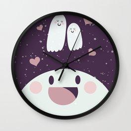 Pink Loving Ghosty Wall Clock