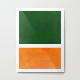 Forest Green Yellow Ochre Mid Century Modern Abstract Minimalist Rothko Color Field Squares Metal Print
