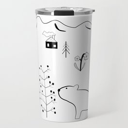 Bear and Berry Tree in the Forest with Mountains – Nordic Style Illustration Travel Mug