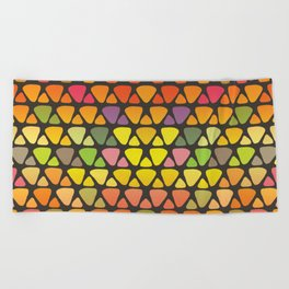 Bright colorful abstract triangles retro pattern Beach Towel