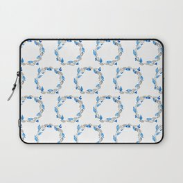 Blue and Gray Watercolor Leaf Wreath Laptop Sleeve