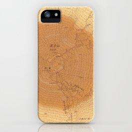 擬木富士|Map camouflaged as wood grain. iPhone Case