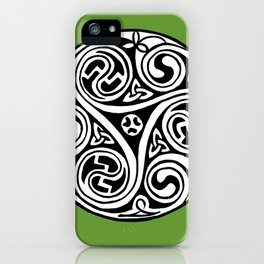 Celtic Art - Triskele - on Green iPhone Case