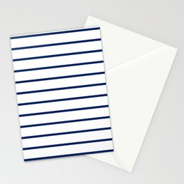 Navy and White Breton Stripes Stationery Cards