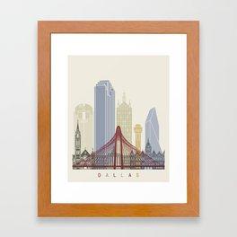 Dallas skyline poster Framed Art Print