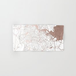 Amsterdam White on Rosegold Street Map Hand & Bath Towel