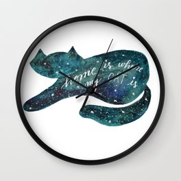 Watercolor galaxy cat – turquoise Wall Clock