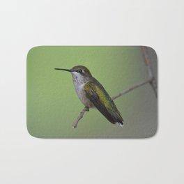 Ruby Throated Humming Bird At Rest Bath Mat