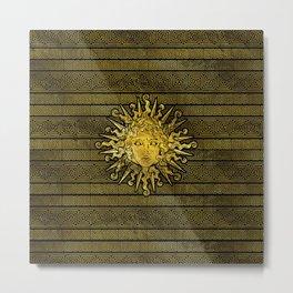 Apollo Sun Symbol on Greek Key Pattern Metal Print