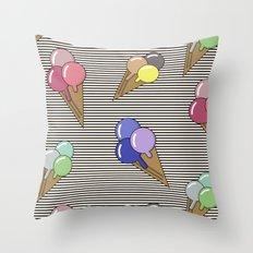 Ice cream splash Throw Pillow