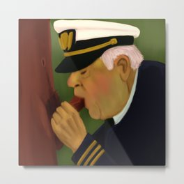 Boat Captain taking care of his Cabin Boy Metal Print