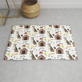Catahoula Leopard Dog Half Drop Repeat Pattern Rug