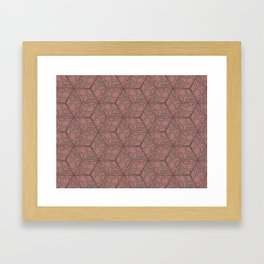 Pink and Grey Hexagon Geometric Pattern Framed Art Print