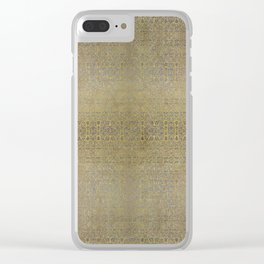Gold and Silver Leaf Bridget Riley Inspired Pattern Clear iPhone Case