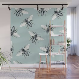 bees on blue Wall Mural