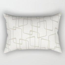 Beige / Light Warm Gray Retro Geometric Print Rectangular Pillow