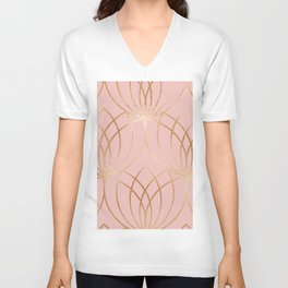 Rose gold millennial pink blooms Unisex V-Neck