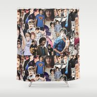 liam payne Shower Curtains featuring Liam Payne - Collage by Pepe the frog